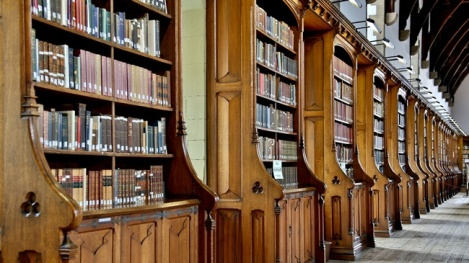 The Durham Cathedral Library is one of my theological libraries.  While it has a good collection of modern theology works, the holding date back to the 6th century.  The Monks of Lindisfarne, who later founded the community Durham, began the collection.   Photos are not allowed in the library.  This photo belongs to the Cathedral. http://www.durhamcathedral.co.uk/heritage/library