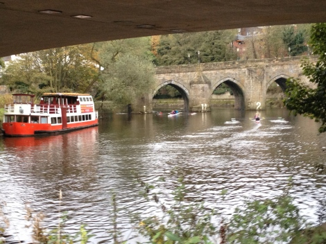 It was a busy morning for boats on the Wear.  They take turns going through the spans at Elvet Bridge.