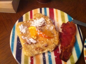 Orange sour dough French Toast and Bacon Rashers