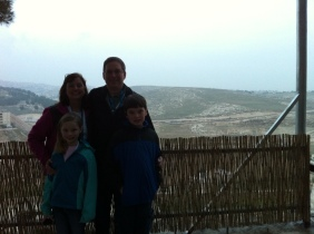 Standing at the edge of the Shepherds Fields, just outside Bethlehem.  January 2013.